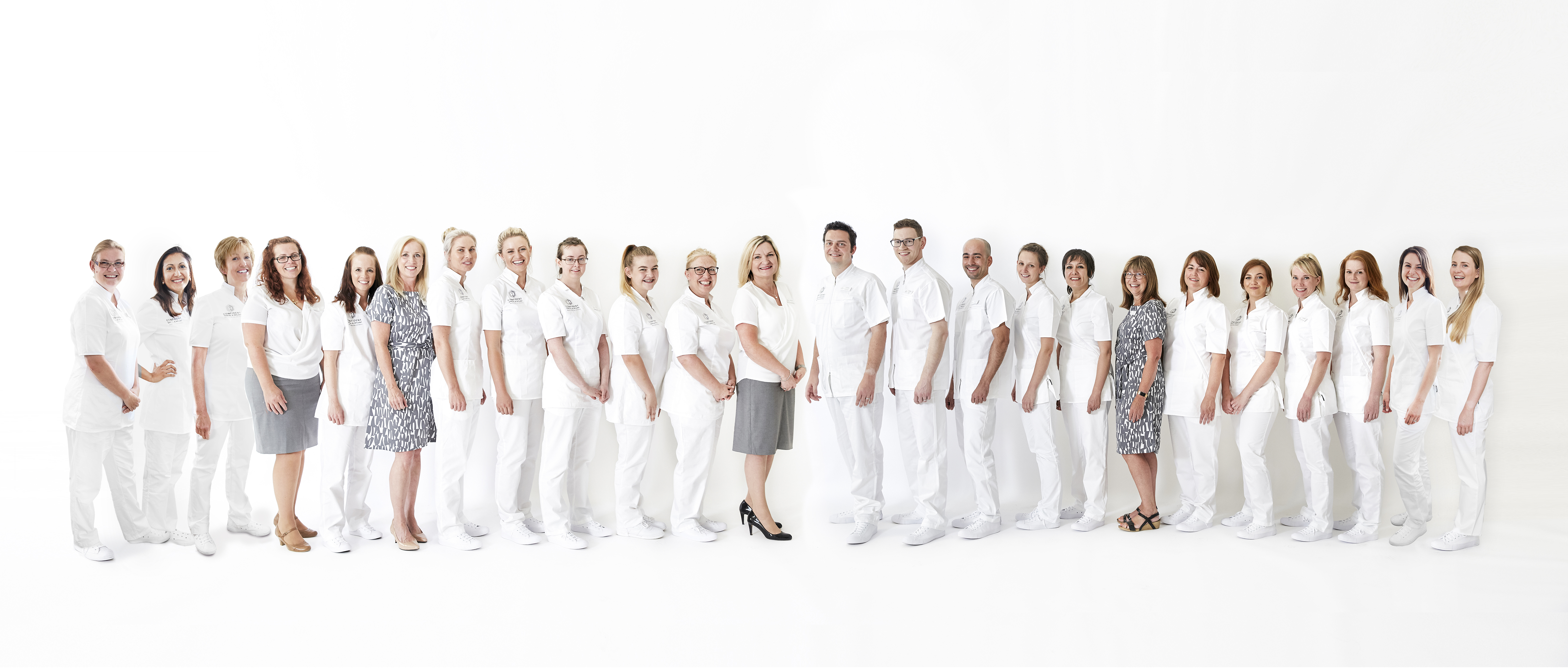photo of team at Confident Dental & Implant Clinic Stroud, team line, Stroud dentist, Gloucestershire, Cotswolds